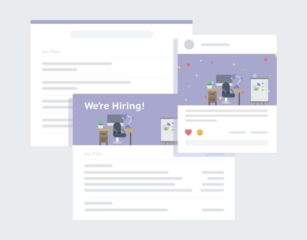 digital rendering of job posts
